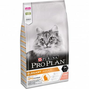 Pro Plan Elegant Adult OPTIDerma Plus сухой супер премиум корм с лососем для взрослых кошек с чувствительной кожей