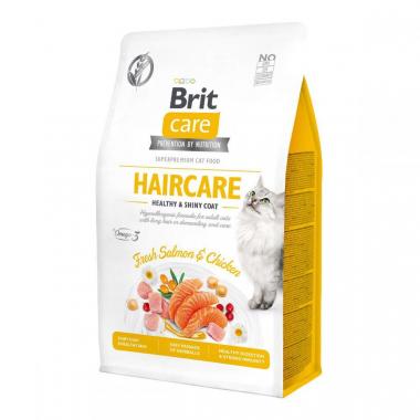 Brit Care Cat GF Haircare Healthy & Shiny Coat Сухой беззерновой корм для здоровья кожи и шерсти для взрослых кошек