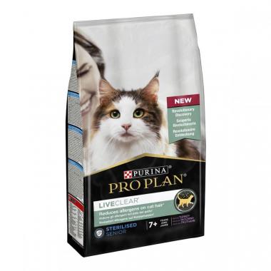 Pro Plan LiveClear Sterilised Senior Turkey Сухой корм с индейкой для стерилизованных котов старше 7 лет для уменьшения аллергенов на шерсти