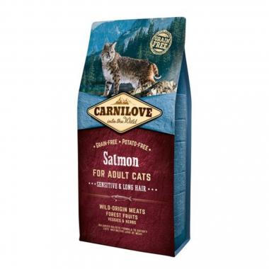 Carnilove Cat Salmon Sensitive & LongHair сухой беззерновой корм с лососем для взрослых кошек с чувствительным пищеварением и длинношерстных кошек