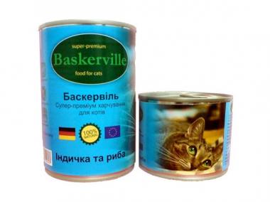Baskerville Индейка с рыбой консерва для котов