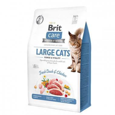 Brit Care Cat Grain Free Large Cats Power & Vitality - полнорационный беззерновой сухой корм на основе утки и курицы для взрослых кошек крупных пород