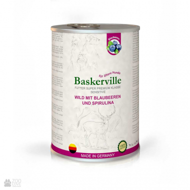 Baskerville Sensitive Консервы для собак оленина с черникой и спирулиной