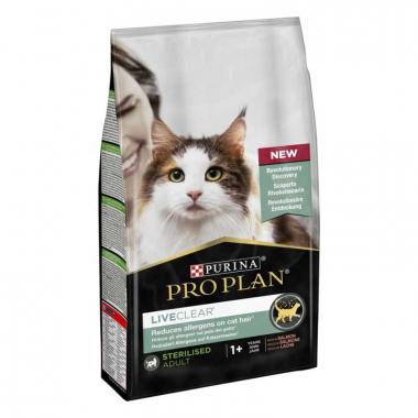 Pro Plan LiveClear Sterilised Salmon Сухой корм с лососем для стерилизованных котов для уменьшения аллергенов на шерсти