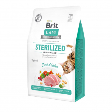 Brit Care Cat GF Sterilized Urinary Health сухой беззерновой корм для стерилизованных котов и кошек всех пород профилактика мочекаменной болезни